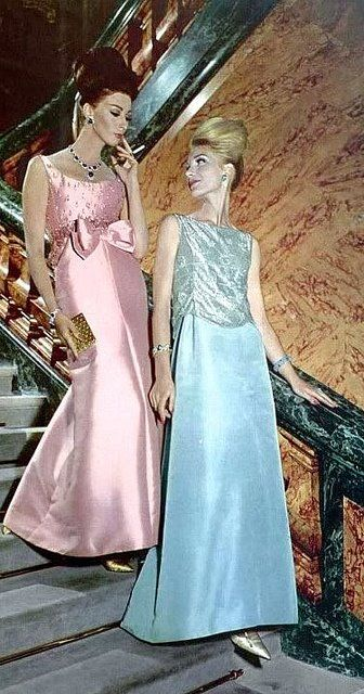 Wilhelmina in rose satin gown by Christian Dior and model in pale turquoise silk faille and tulle gown by Pierre Cardin, 1962