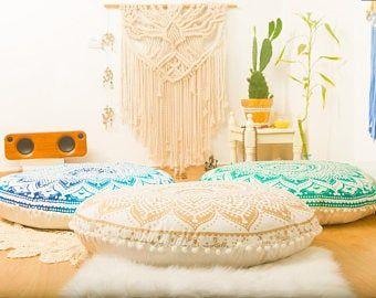 Meditation Cushion Poufs Floor Cushion Seating Floor Pillow Etsy In 2020 Floor Cushions Floor Pillows Boho Floor Pillows