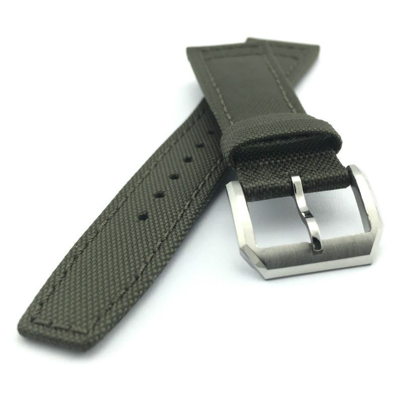 Green Kevlar Fabric Leather Watch Strap