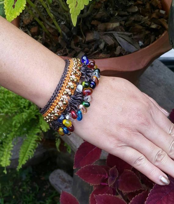 Boho Hand BraidedChrochet Gypsy Bracelet With Glass Teardrop and Brass Beads  Nylon Wax Cord for her  for gift