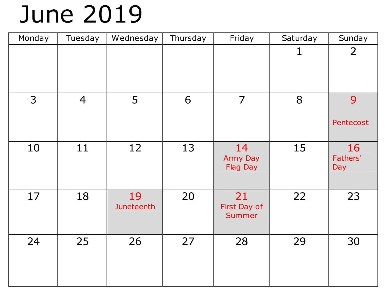 Calendar June 2019 Business With Holidays With Images Calendar