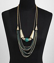 LAYERED SCULPTED METAL PAINTED CHAIN NECKLACE
