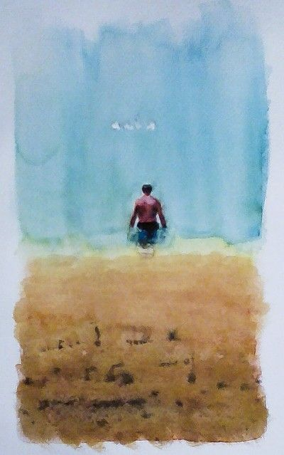 """""""Maybe I shouldn't swim alone ..."""" watercolor on laid paper, miniature sized 12x20cm, pricing 10€"""
