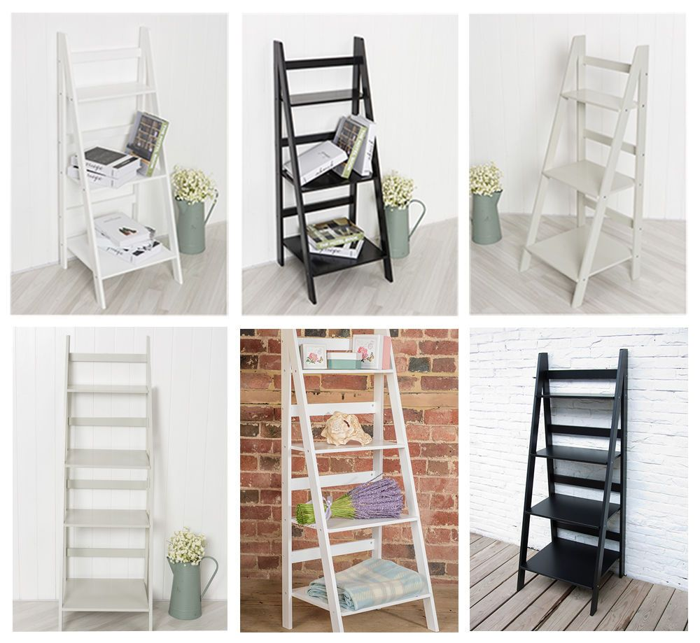 Details About Ladder Book Shelf Bookcase Stand Free Standing Shelves Storage Unit In White Gre Free Standing Shelves Bookshelves In Living Room Standing Bookshelf