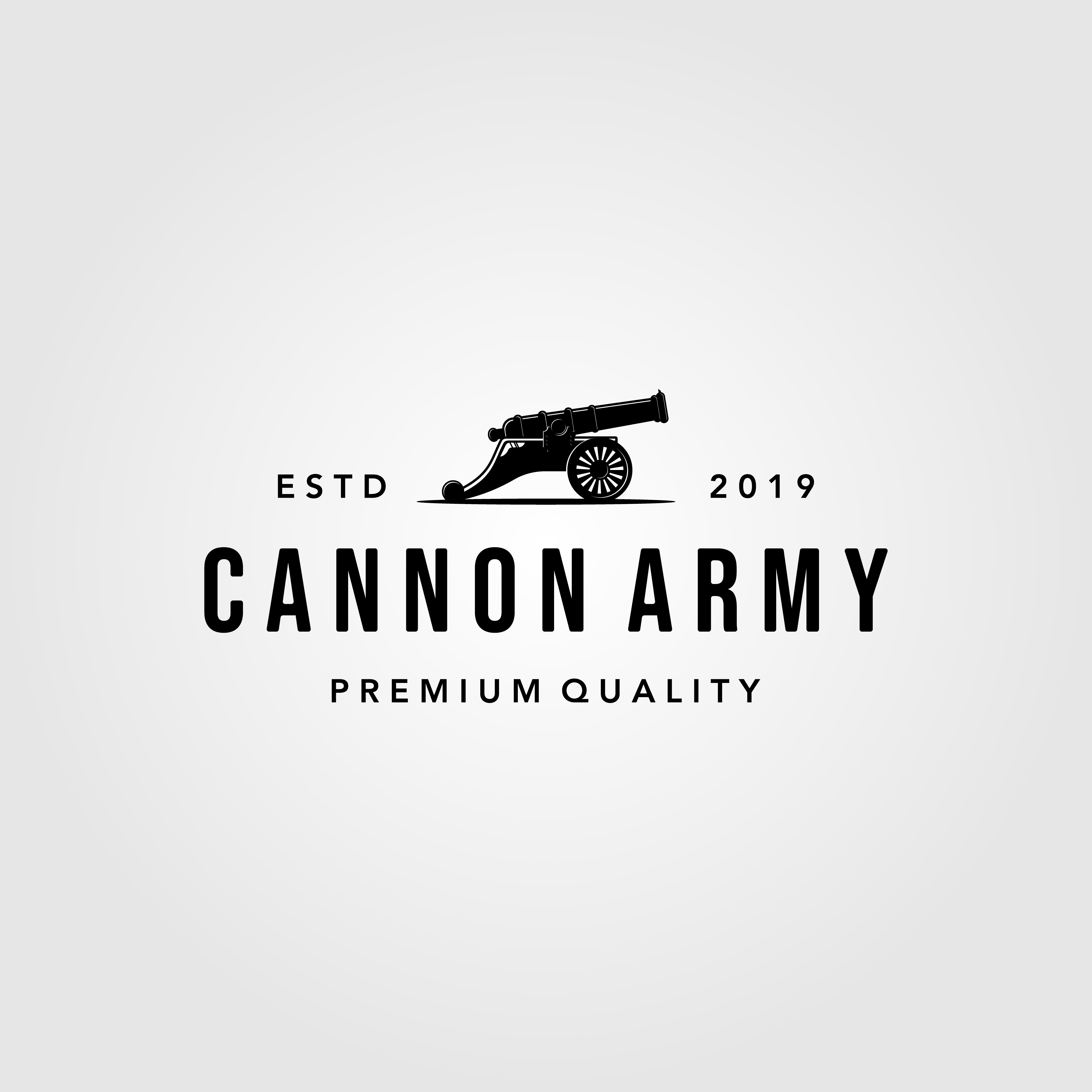 vintage, cannon, icon, logo, vector, isolated, white