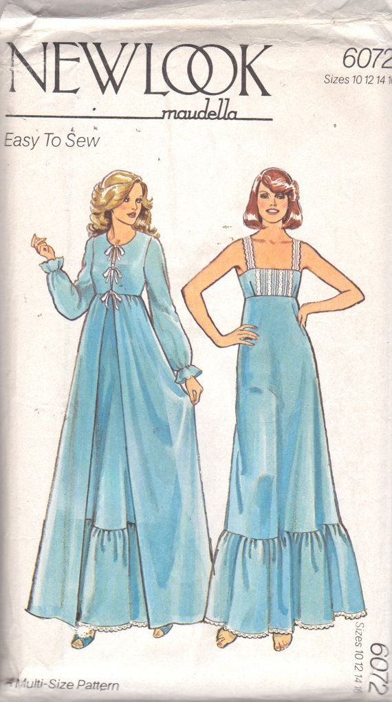 f6b13054fbc New Look 6072 MAUDELLA Misses Easy Empire Waist Nightgown with Square  Nekcline and Dressing Gown Robe womens vintage sewing pattern by mbchills