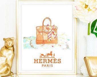 3c61e2013d28 HERMES Birkin Bag Watercolor Artwork. Modern high fashion wall art.  Stunning Home Décor.
