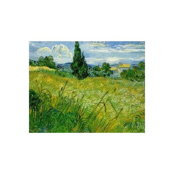 Green Wheat Fields by Vincent Van Gogh Art Print - WorldGallery.co.uk ($9.35) ❤ liked on Polyvore featuring home, home decor, wall art, art, backgrounds, paintings, green home decor, green painting, van gogh paintings and wheat field painting