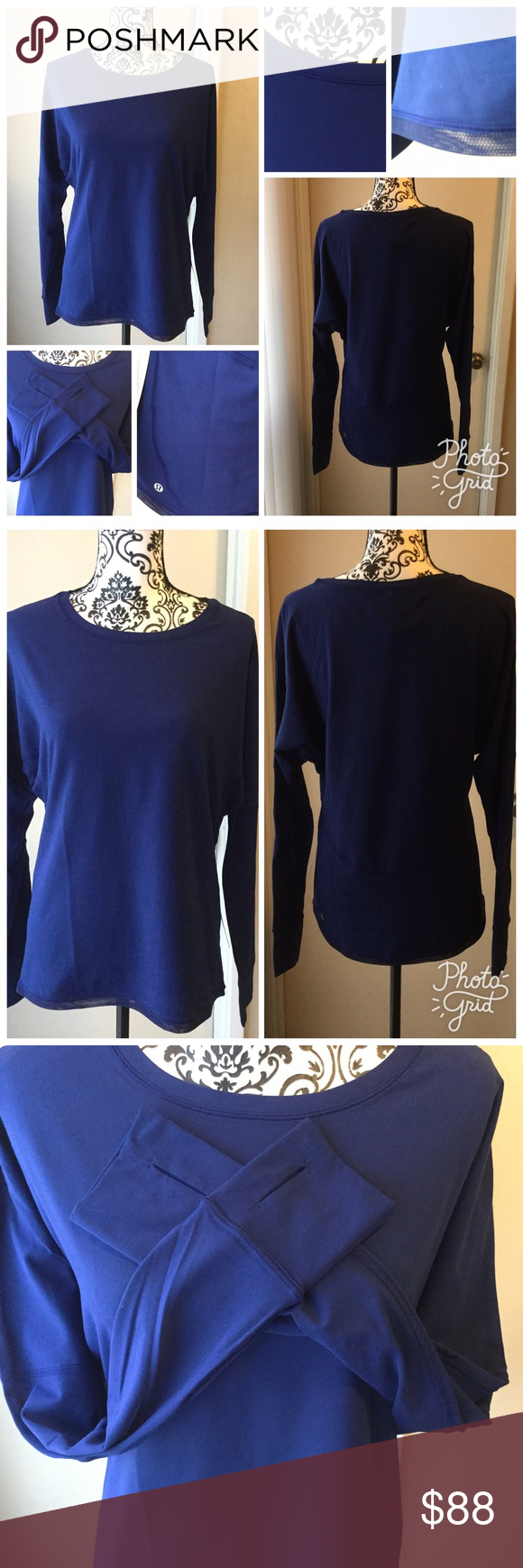 Lululemon 🍋 Gear up LS New with tags, Gear up long sleeve from lululemon. Hero blue color, mesh details in bottom. Super soft Rulu fabric, thumb holes. Priced higher then paid because of tax and fees. lululemon athletica Tops Tees - Long Sleeve