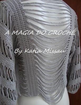 A+MAGIA+DO+CROCHÊ:+Bolero+Angélica+feito+com+a+linha+Duna