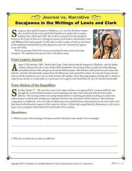 journal vs narrative activity sacajawea by lewis and clark  narrative activity sacajawea by lewis and clark