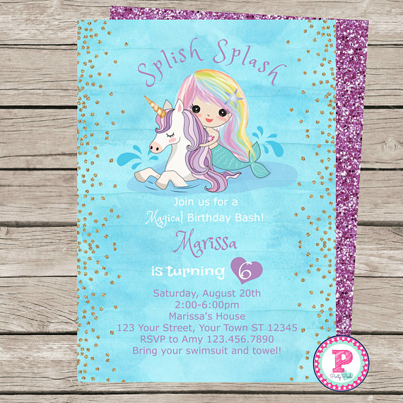 Mermaid Unicorn Watercolor Birthday Party Invitation Front Back