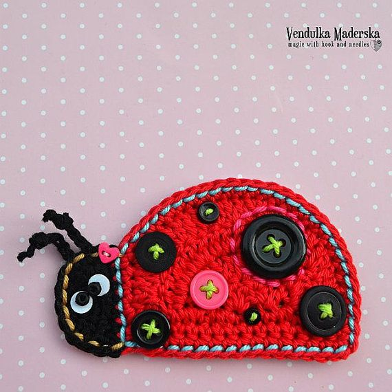 Crochet ladybug applique - pattern, DIY | Applikationen, Käfer ...