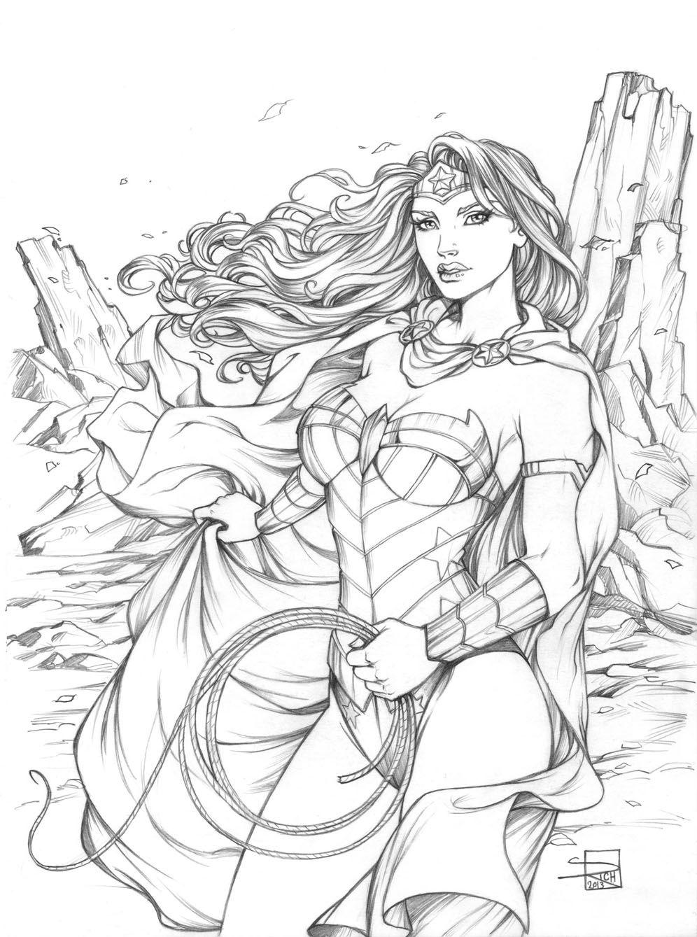 Coloring pages wonder woman - Wonder Woman Pencils Comic Colouring Page
