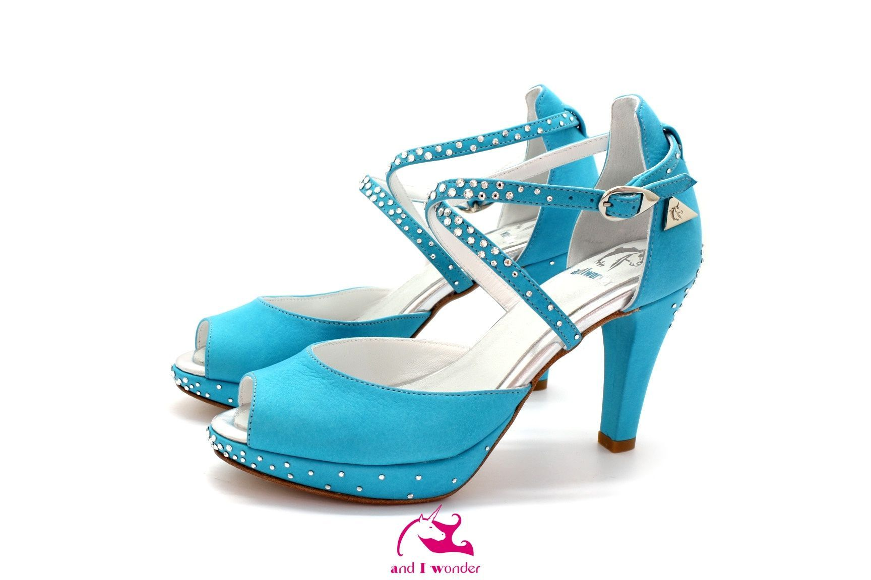b693da8ec4c Custom made turquoise sauvage low heel shoe open toe with a double crossed  ankle strap and