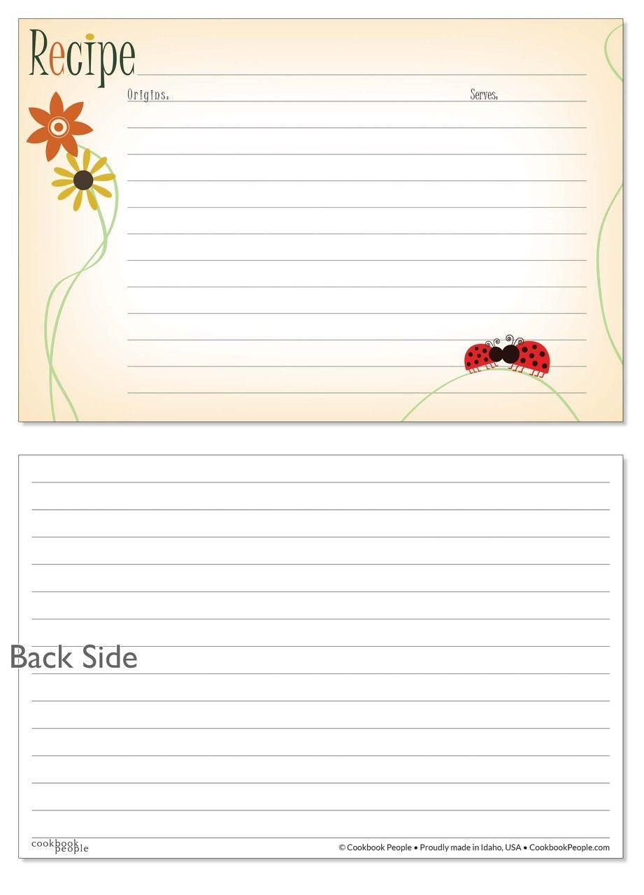4x6 Recipe Card Lovebugs Artsy Orange 40ea Recipe Cards Template Recipe Cards Printable Recipe Cards