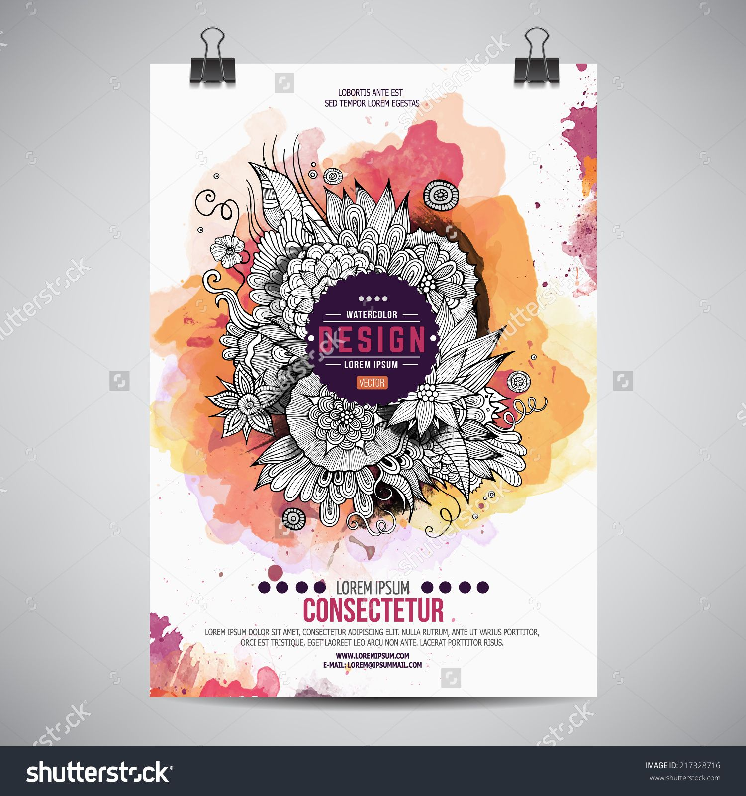Vector Template Poster With Watercolor Paint Floral Abstract