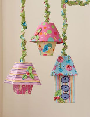 Sweet Birdie Lampshades, Quilt June/July 2012. From the Sweet Birdie collection by Kathy Davis for Free Spirit Fabric.