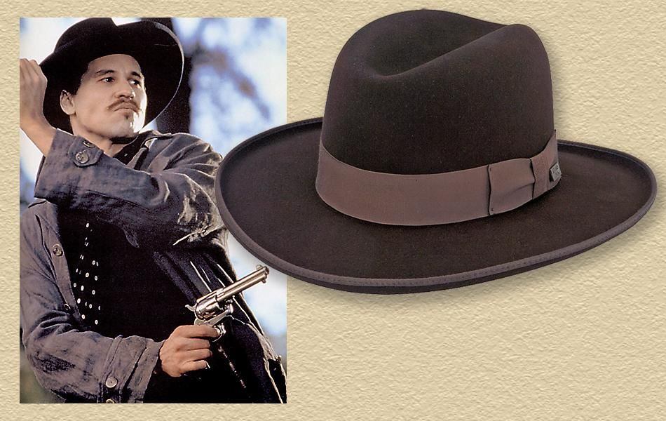 b0801f0a Actor Val Kilmer, who played Doc Holliday in Tombstone, wore a  Homburg-looking…