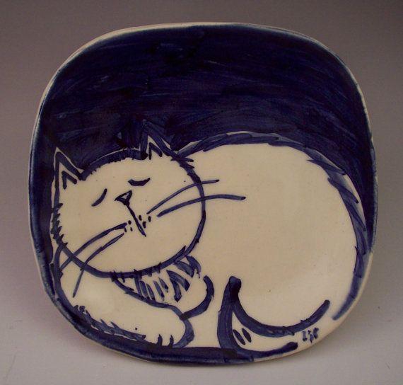 Pottery Cat Plate Cobalt Blue Brushwork Cat On Square Plate Etsy Plates Square Plates Original Art