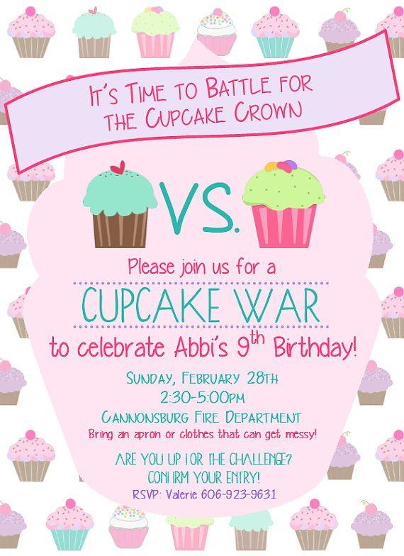 cupcake war birthday invitation in 2018 krista pinterest