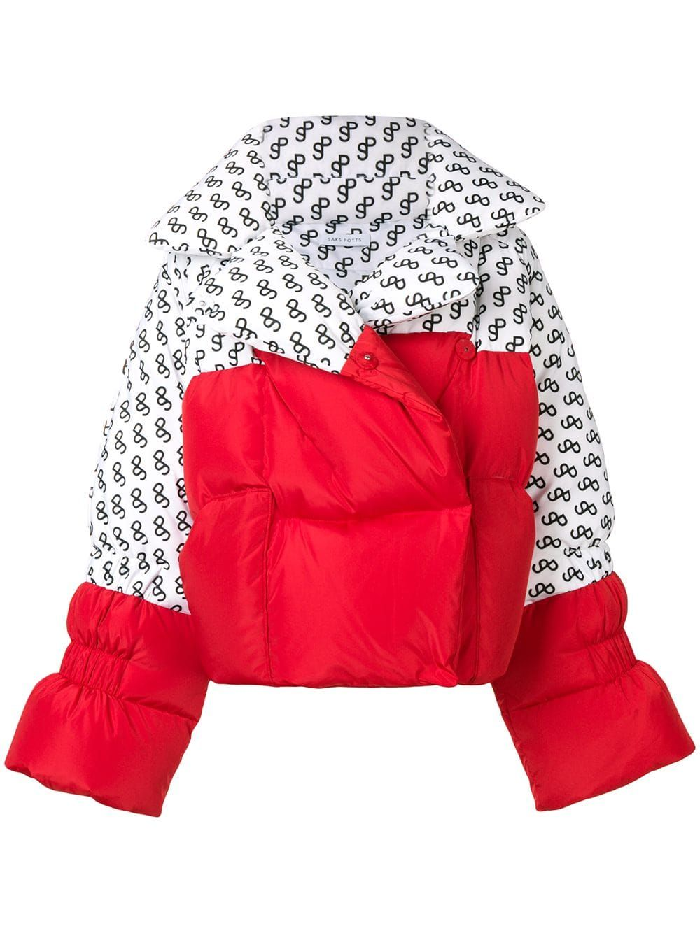 ef93e1a3c62 Saks Potts logo print panelled puffer jacket - White in 2019 ...