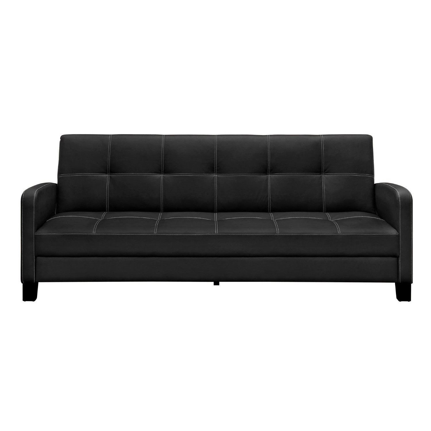 Clic Black Faux Leather Futon Sofa Sleeper