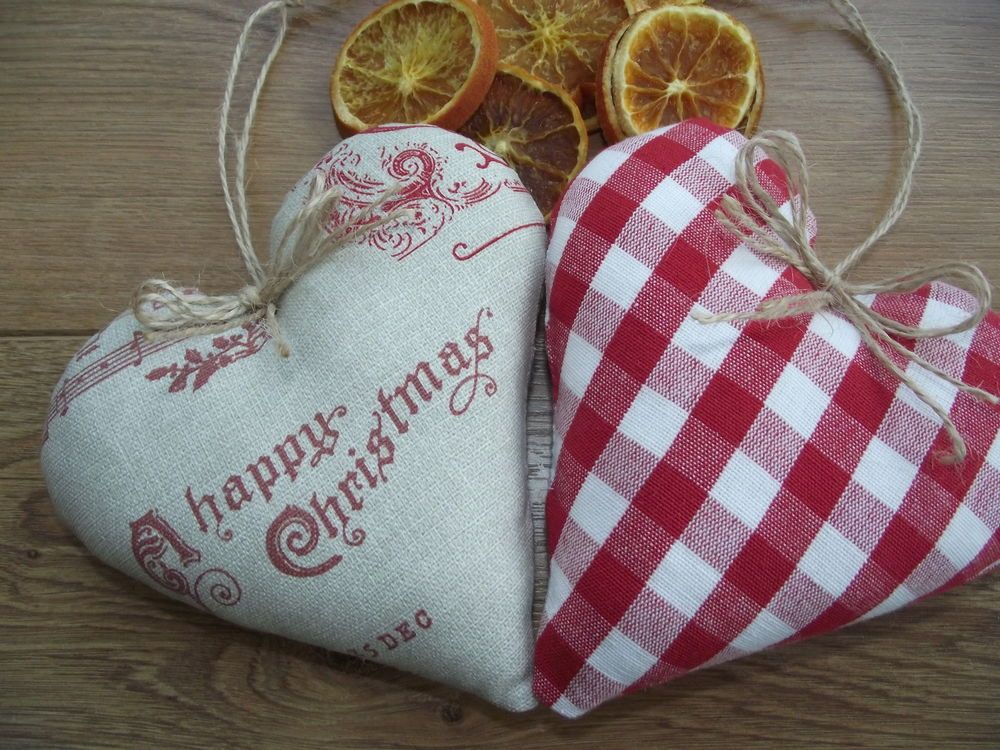 Hanging Scented Christmas Hearts Handmade Fryetts Laura Ashley Gingham Fabric