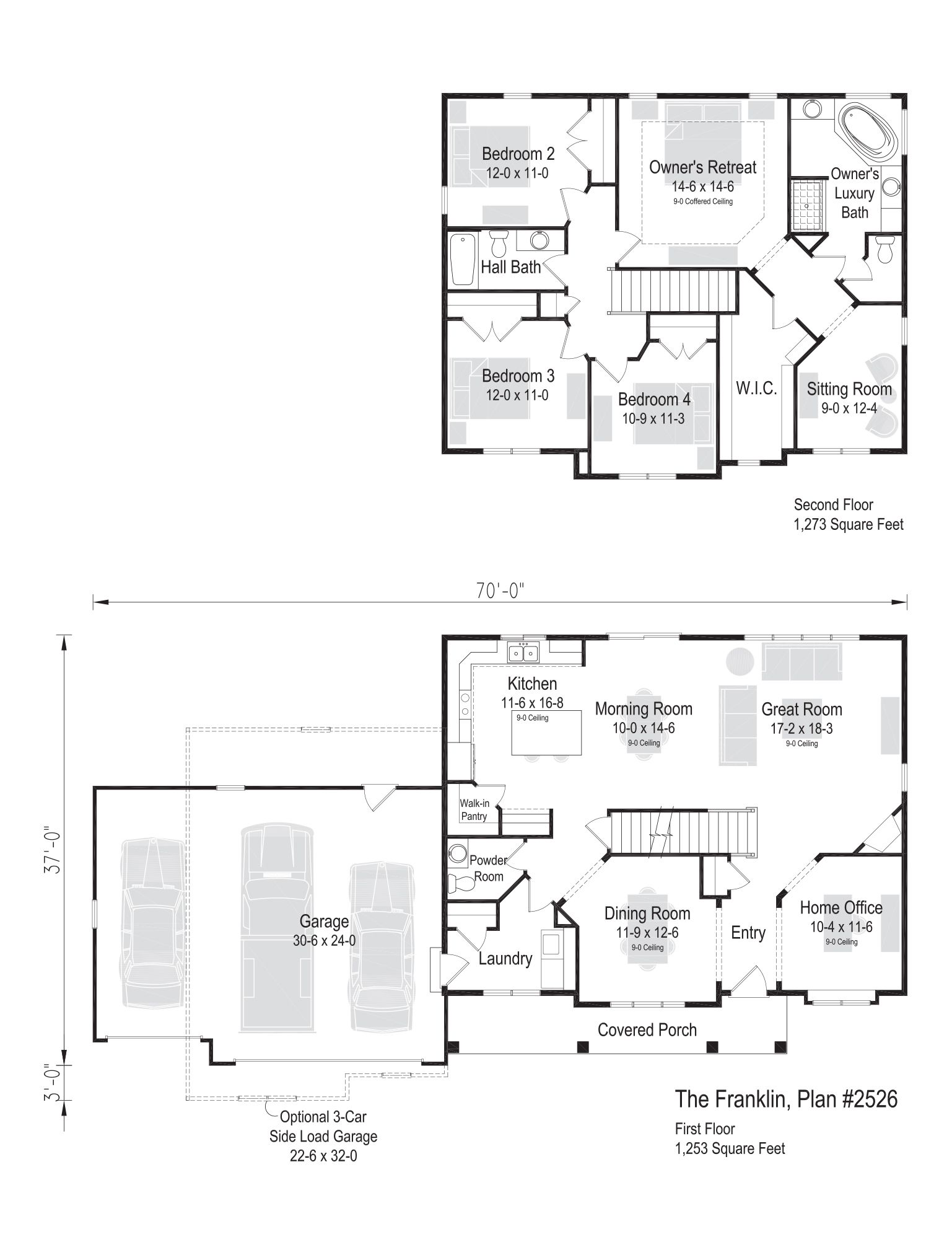 The Franklin Plan 2526 2 Story 2 526 Sq Ft 4 Bedroom 2 5 Bathroom House Layout Plans Floor Plan 4 Bedroom Sims House Plans