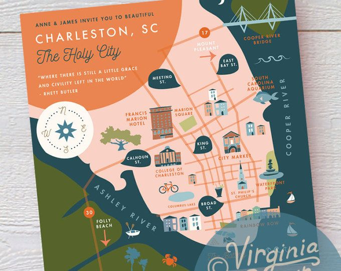 Custom Wedding Map Invitation Insert Save The Date Schedule Of Events Itinerary Printable File