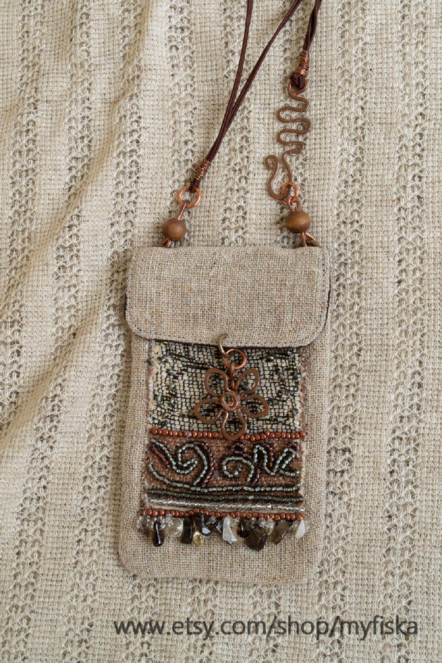 Photo of Linen Amulet bag,Amulet pouch,Textile pendant necklace,Hippie,Boho purse and bag,Bead Medicine bag necklace,Boho neck bag,One of a kind bag