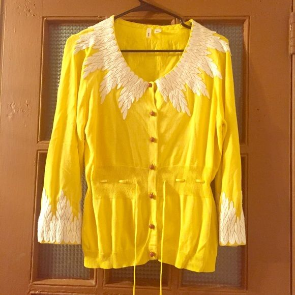 Anthropologie Moth Bright Yellow Cardigan Size XL | Yellow ...