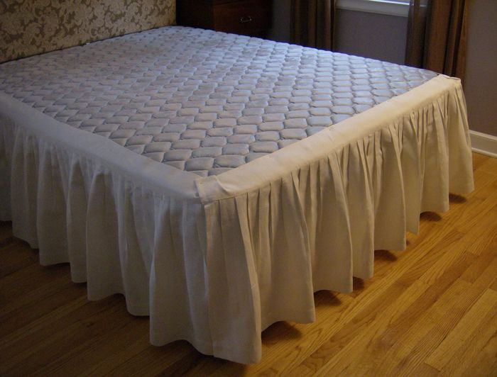 Bed Skirt Panels 100 Linen Tailored Bed Skirt 3 Panel Style Shown In Oyster Fabric Bed Diy Bed Skirt Wooden Platform Bed Bed skirts for full size bed