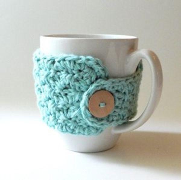 Free crochet coffee cozy pattern - easy | Tejidos | Pinterest ...