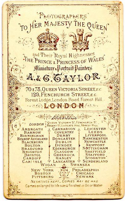 Ag taylor london vintage photographic studio card london as we are working on our business cards we found a large amount of those for inspiration we found a lot of wonders across the reheart Choice Image