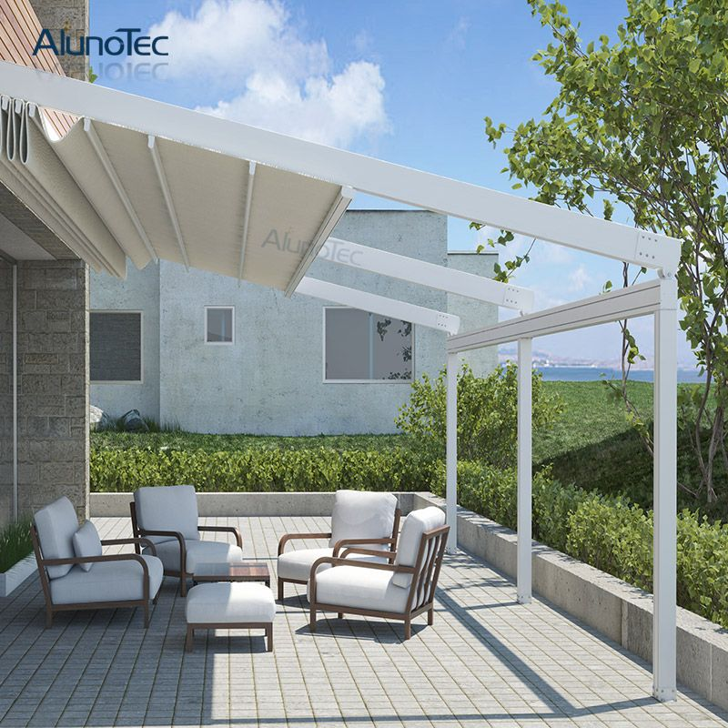 Outdoor Wind Resistance Waterproof Aluminium Pvc Retractable Awning Roof With Led Outdoor Pergola Retractable Awning Awning Roof