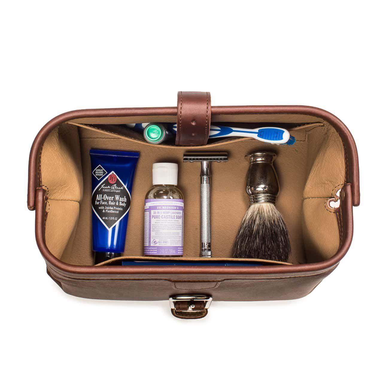 NEW Genuine Leather Dopp Kit Shaving Accessory Toiletry Travel Bag Men Vintage