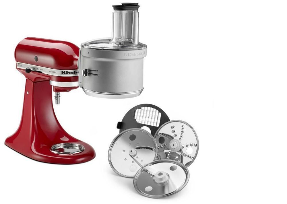 Food processor with dicing disc stand mixer attachment in