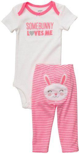 Carter/'s Baby Girls Newborn Somebunny Loves Me Bodysuit Striped Pant Set