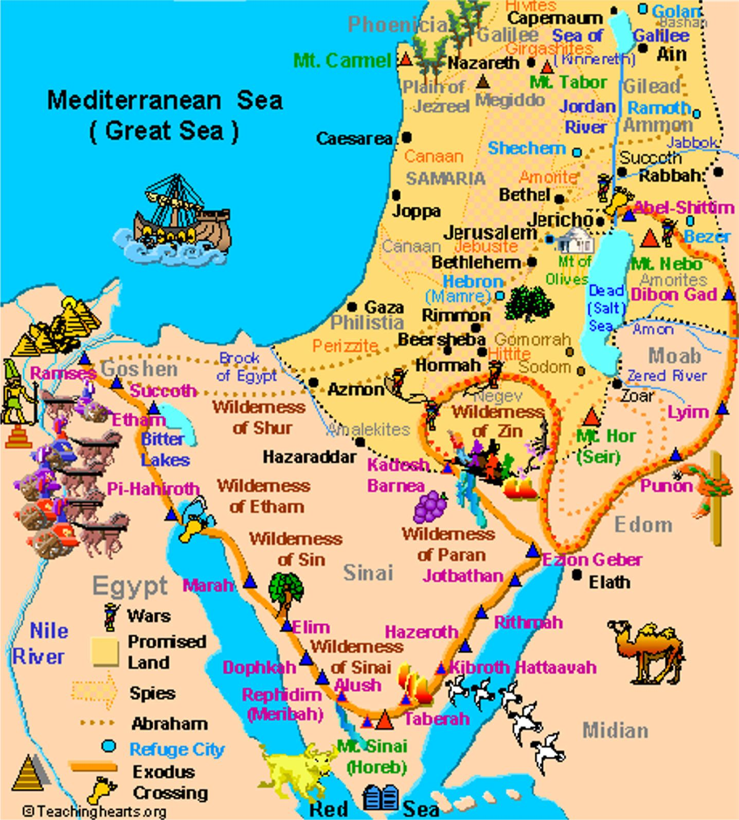 Numbers Aaron And Miriam Rebellion Moses Pinterest - Map of egypt during exodus