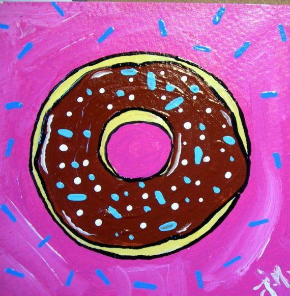 Original mini PAINTING 4 by 4 inch DONUT sprinkles by gr8shapes/Joanna Nelson, $9.99