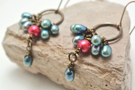 Freshwater Pearl and Brass Earrings. Pearls on by happylittlegems, $29.00