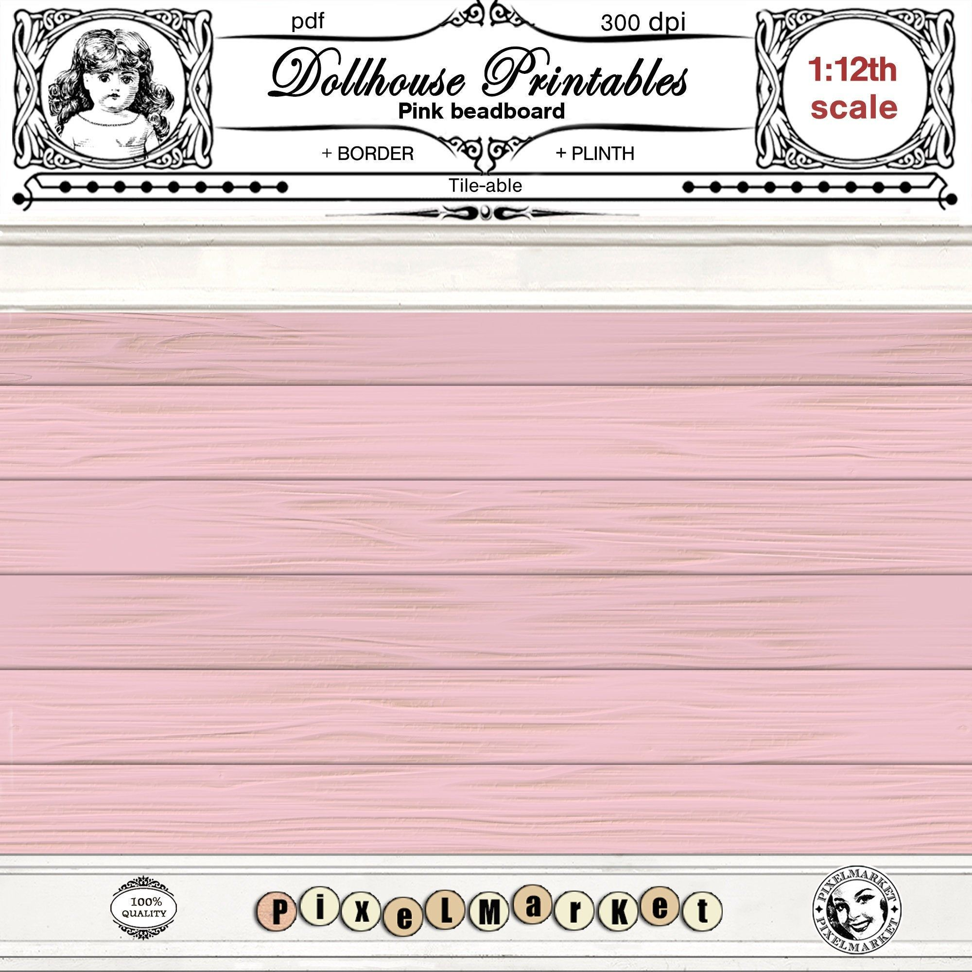 Dollhouse Wallpaper Printable Beadboard 1 12 Farmhouse Siding Pink Wooden Plank Large Sheet Digital Download For Diorama Roombox Ceiling In 2020 Printables Doll House Printed Sheets