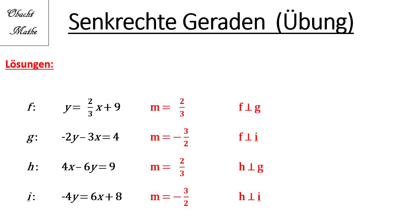 Senkrechte Geraden - Orthogonale Geraden - Übungen mit Lösungen ...