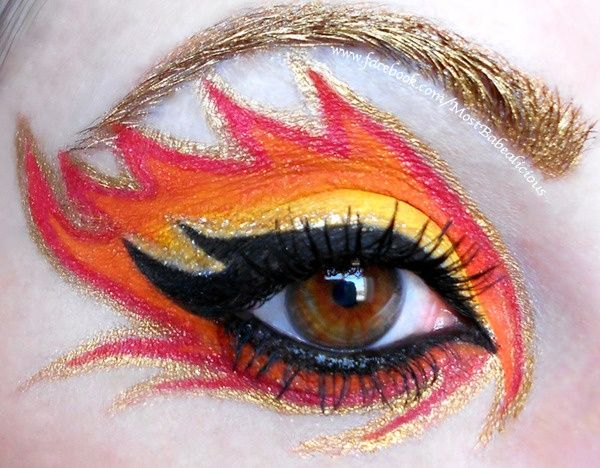 fire face-paint  I like the gold eyebrow
