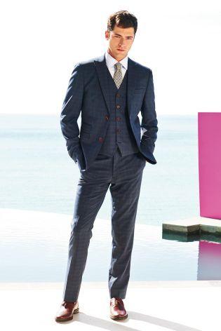 Blue Check Slim Fit Suit from Next | Clothes | Pinterest | Slim ...