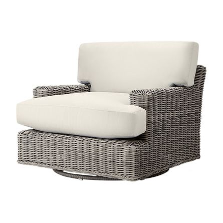 The Arhaus Wyatt Outdoor Swivel Chair In Weathered Grey With Cushions  Features A Wicker Frame, All Weather Upholstery U0026 Is Built For Relaxing.