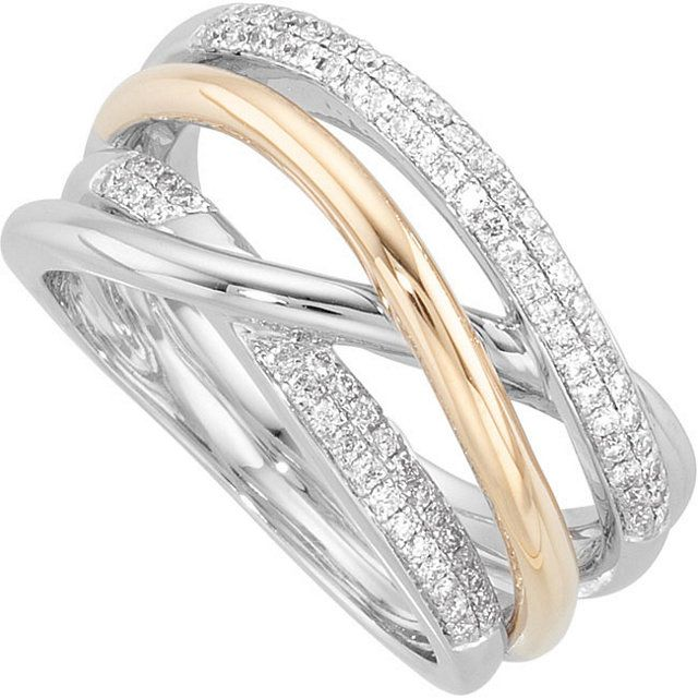 Pave Must Have Of The Day 14k White And Yellow Gold Crossover Ring With Pave Set Diamonds Allowable F Diamond Fashion Rings Fashion Rings Ladies Diamond Rings