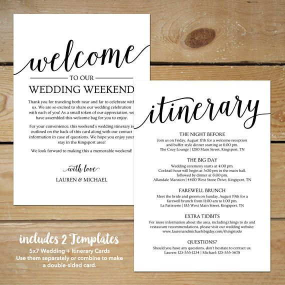 Wedding Itinerary Template Wedding Welcome Note \/\/ Printable - itinerary template