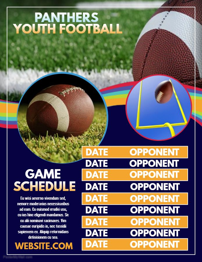 Youth Football schedule poster flyer social media template